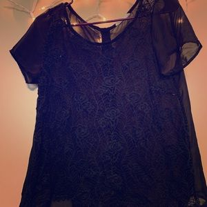 Tops - Black lace and sheer top with button accent